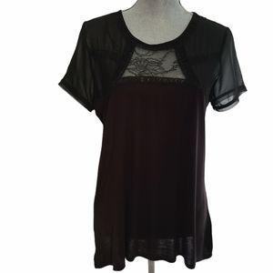 - H&M Black Sheer Shoulder Short Sleeve Top …
